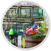 Lobster Cages Round Beach Towel