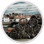 Lobster Pots Round Beach Towel