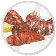 Lobster Tail And Meat Round Beach Towel