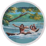 Locals Rowing In The Amazon River Round Beach Towel