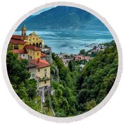 Round Beach Towel featuring the photograph Locarno Overview by Alan Toepfer