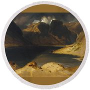 Loch Avon And The Cairngorm Mountains Round Beach Towel