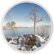 Loch Ba Winter Round Beach Towel