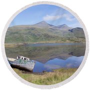 Loch Beg Reflections Round Beach Towel