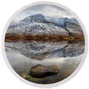 Loch Etive Reflection Round Beach Towel