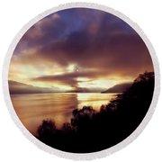 Loch Ness Winter Sunset Round Beach Towel
