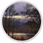 Round Beach Towel featuring the photograph Loch Venachar by Jeremy Lavender Photography