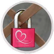 Lock Of Love Round Beach Towel