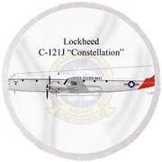 Lockheed C-121j Constellation Round Beach Towel by Arthur Eggers