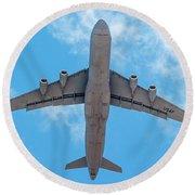 Round Beach Towel featuring the photograph Lockheed Martin C5 Galaxy Overhead by SR Green
