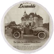 Locomobile Advertisement Round Beach Towel