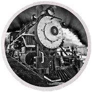 Locomotive Nine Round Beach Towel by Marius Sipa