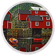 Lofoten Fishing Huts Round Beach Towel