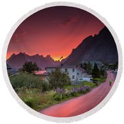 Lofoten Nightlife  Round Beach Towel by Alex Conu