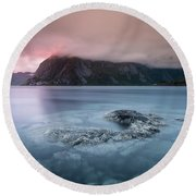 Lofoten Sunset Round Beach Towel by Alex Conu