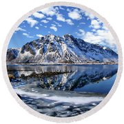 Lofoten Winter Scene Round Beach Towel
