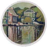 Lofts Along The River Zaan In Zaandam Round Beach Towel