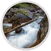 Log In The Rapids Round Beach Towel