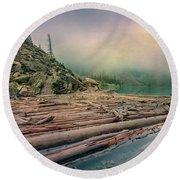 Log Jam At Moraine Lake Banff National Park Canada Round Beach Towel