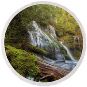 Log Jam By Panther Creek Falls Round Beach Towel
