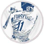 Logan Forsythe Los Angeles Dodgers Pixel Art 1 Round Beach Towel