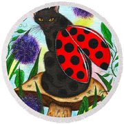 Logan Ladybug Fairy Cat Round Beach Towel