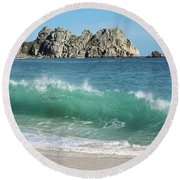Round Beach Towel featuring the photograph Logan Rock Porthcurno Cornwall by Terri Waters