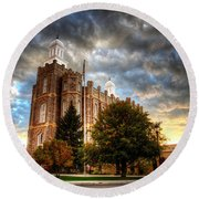 Logan Temple Cloud Backdrop Round Beach Towel
