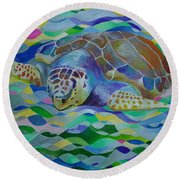 Loggerhead Turtle Round Beach Towel