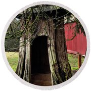 Loggers Outhouse Round Beach Towel