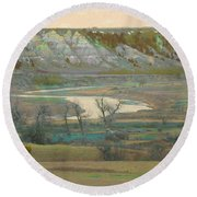Logging Camp River Reverie Round Beach Towel