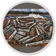 Round Beach Towel featuring the painting Logjam Backwaters Up Millinocket Way No. 3 By Marsden Hartley by Artistic Panda