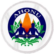 Logo Of Ahonu.com Round Beach Towel