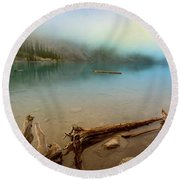Logs And Boulders Moraine Lake Banff II Round Beach Towel
