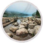 Logs And Boulders Moraine Lake Banff Round Beach Towel