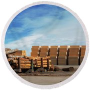 Logs And Plywood At Lumber Mill Round Beach Towel