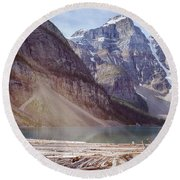 Logs At Lake Moraine Round Beach Towel by Patricia Hofmeester