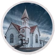 Round Beach Towel featuring the photograph Loleta Church by Greg Nyquist