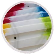 Round Beach Towel featuring the photograph Lolipop Kayaks by Joel Witmeyer
