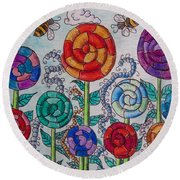 Round Beach Towel featuring the drawing Lollipop Garden by Megan Walsh