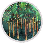 Round Beach Towel featuring the painting Lollipop Trees by Valerie Anne Kelly