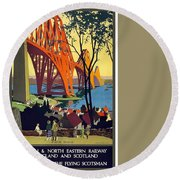 London And North Eastern Railway - Retro Travel Poster - Vintage Poster Round Beach Towel