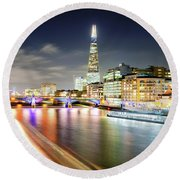 London At Night With Urban Architecture, Amazing Skyscraper And Boat At Thames River, United Kingdom Round Beach Towel