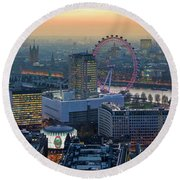 London At Sunset Round Beach Towel