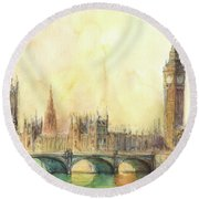 London Big Ben And Thames River Round Beach Towel