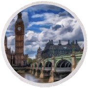 Round Beach Towel featuring the painting London Big Ben by David Dehner
