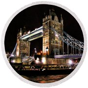 London Bridge At Night Round Beach Towel