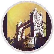 Round Beach Towel featuring the painting London Bridge- Uk by Ryan Fox