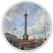 London Bus And Lord Nelson Round Beach Towel