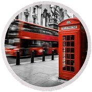 London Bus And Telephone Box In Red Round Beach Towel